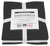 Black Floursack Dishtowels <br> Set of 3