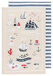 Fish & Ships Dishtowels Set/2