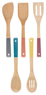 Bamboo Kitchen Utensils <br> Set of 5 Gemstone