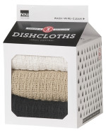Black/Oyster/White Waffle Dishcloths <br> Set of 3
