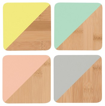 Angle Bamboo Coasters - Multicolor<br> Set of 4
