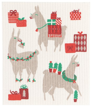 Fa La La La Llama Swedish Dishcloth