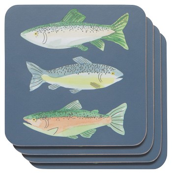 Gone Fishin Cork-Backed Coaster Set