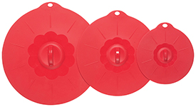Red Silicone Lids <br> Set of 3