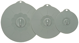 Gray Silicone Lids <br> Set of 3